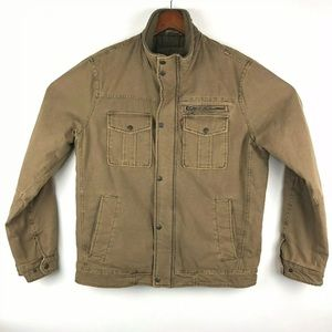 Levis Canvas Khaki Field Jacket Quilted Lined Zip